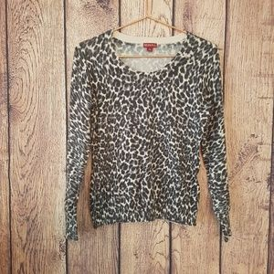 Merona Gray cream animal print sweater size S